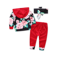 Bilo Infant Baby Girl Floral Pattern Long Sleeve Hoodie and Pants 3 pcs Cotton Outfit Black Flowers and Red