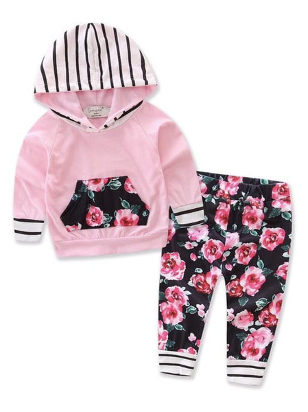 Bilo Infant Baby Girl Floral Pattern Long Sleeve Hoodie and Pants 3 pcs Cotton Outfit Pink and Floral Pants