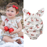 Bilo Cute Baby Girls Xmas Deer Sleeveless Romper Deer Jumpsuit Outfits Clothes Set - Bilo store