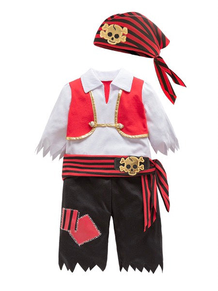 Unisex Little Boys Girls Pirate Halloween Costume 4pcs Set Cosplay Event Parties Stage Performance Outfit