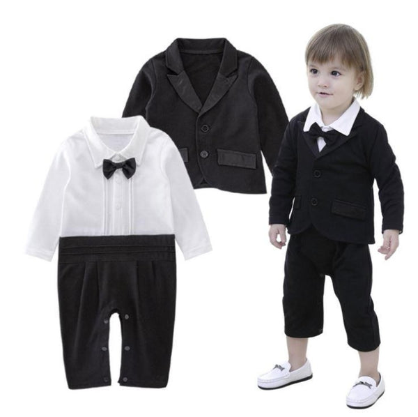 Baby Boy Tuxedo Romper and Jacket 2-pc Cropped Trousers Formal Wear Suit