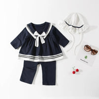 Baby Girl Marine Sailor Long Sleeves Costume Romper Onesie With Hat 2 Pcs Set