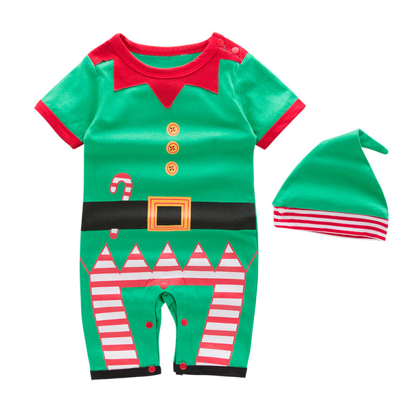 Unisex Baby Holiday Elf Long/Short Sleeved Costume Romper