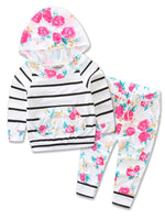 Infant Baby Girl Floral Pattern Long Sleeve Hoodie and Pants 2 pcs Outfit Black Stripe/Pink Rose - Bilo store