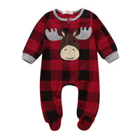 Infant Baby Boy Girl Plaid Deer Christmas Romper Bodysuit Outfit Kids Long Sleeve Fall Warm Xmas Jumpsuit Clothes - Bilo store