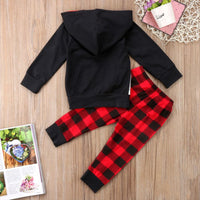 Bilo 2PCS Christmas Baby Boy Clothes Set Cartoon Sweatshirt Hooded Top+Checked Pants Outfits Clothes Set - Bilo store