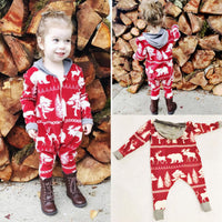 Bilo New Casual Baby Girl Boys Clothes Christmas Long Sleeve Hoodie Romper Jumpsuit Clothes Outfit Set - Bilo store