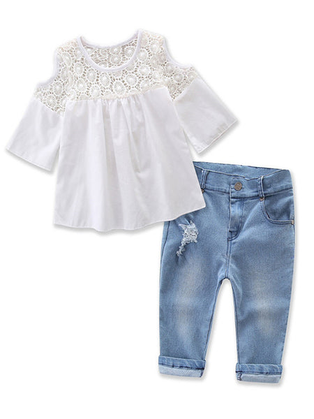 Bilo Sweet Girl Lace Design Off Shoulder 3/4 Sleeve Blouses and Jeans 2 pcs Outfit Set
