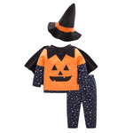 4Pcs Infant Toddler Baby Boy Girl Halloween Costumes Pumpkin Smile Top+Stars Long Pant+Wizard Hat Outfit Clothes - Bilo store