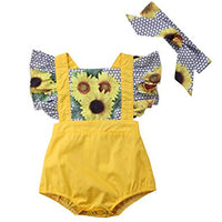 Baby Girls' Full Flower Print Buttons Ruffles Romper Bodysuit with Headband - Bilo store