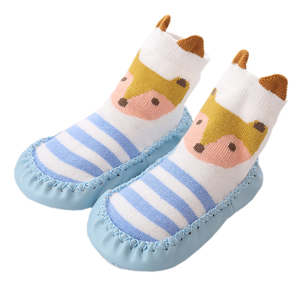 Unisex Baby Toddler Animals Print Cotton Socks Slipper Anti-Slip Crib Shoes - Sold per 1 Pair