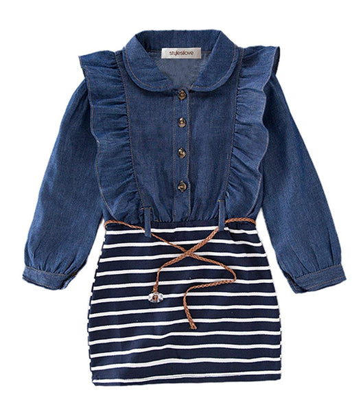 Little Girl Ruffle Denim Striped Mini One-Piece Tunic Dress with Belt - Bilo store