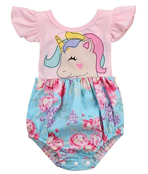 Baby Girl Backless Unicorn Floral Printed Ruffle Sleeve Romper Outfit - Bilo store