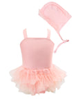 Toddler Kids Girl Cute and Fun One-Piece Swimsuit with Hat 2pcs Set Bathing Pool Beach Swimwear Angel Pink
