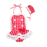 Toddler Kids Girl Cute and Fun One-Piece Swimsuit with Hat 2pcs Set Bathing Pool Beach Swimwear Checkered Red