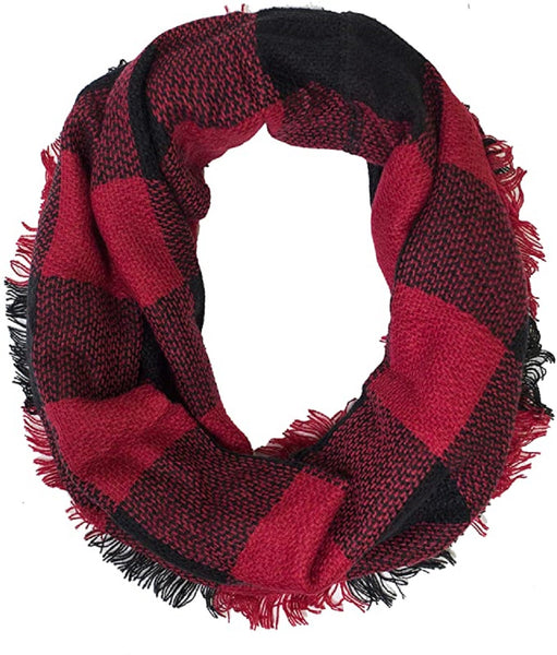 ELSKY Plaid Lovers Collection Womens Infinity Scarf (Buffalo Plaid Red)