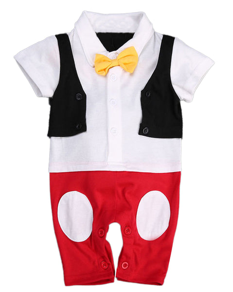 Bilo Baby Boy Bowtie Cartoon Photo Prop Romper Onesie - Bilo store