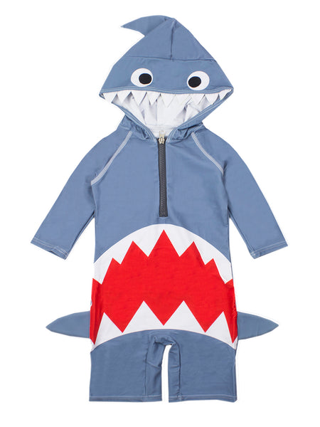 Little Boys Shark Costume Hooded Swimsuit - Bilo store