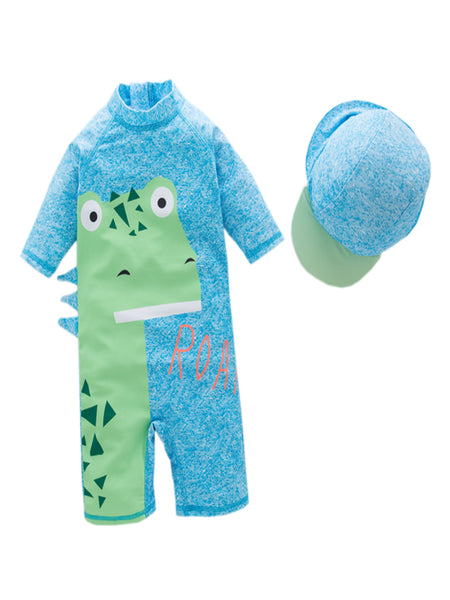 Boys Dinosaur One-Piece Swimsuit With Hat 2 Pcs Set - Bilo store