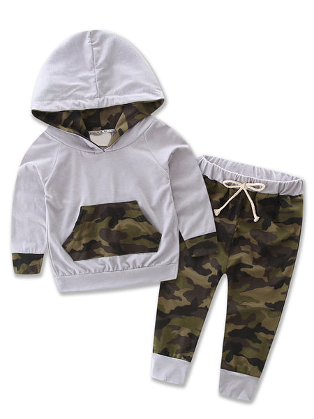 Bilo store Infant Baby Boy Camouflage Hoodie Top and Pants Outfit - Bilo store