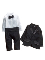 Newborn Infant Baby Boys Tuxedo Bow Tie Jumpsuit Romper and Black Jacket 2-pc Formal Wear Suit - Bilo store