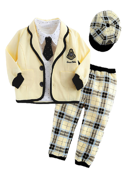 Infant Toddler Baby Boy Yellow Jacket, Shirt, Pants, Tie and Hat 5-pc Set - Bilo store