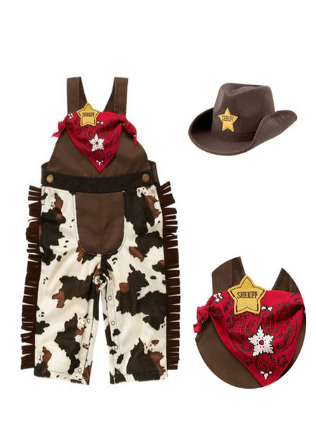 Infant Toddler Baby Boy Sheriff Cowboy Costume Overalls, Hat and Handkerchief 3-Piece Brown - Bilo store