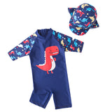 Kid Boys Chic Animals Printed One-Piece Rash Guard with Sun Hat 2pcs Swimsuit Pool Swimwear Beach Bathing Suit - Bilo store
