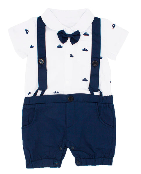 Bilo Sailor Boat Print Faux Suspender Formal Wear Baby Boy Short Sleeve Romper - Bilo store