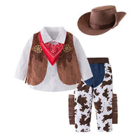 Bilo Kid Boys Halloween Cowboy Costume 5pcs Set Cosplay Event Dress Up Parties Stage Performance Outfits - Bilo store