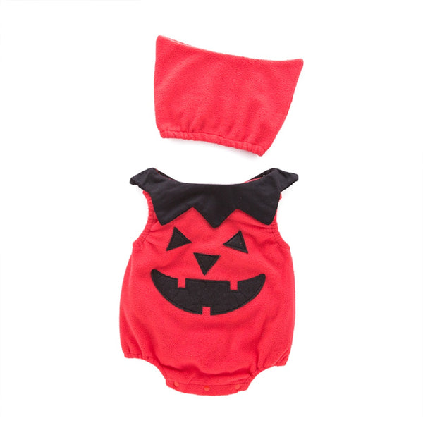Bilo Halloween Infant Baby Unisex Pumpkin Romper +Hat Outfits Costume Outfits Set - Bilo store