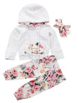 Bilo Infant Baby Girl Floral Pattern Long Sleeve Hoodie and Pants Cotton Outfit - Bilo store