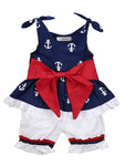 Baby Girl Anchor Print Sleeveless Bowknot Top and Shorts Pants 2 pcs Outfit Set - Bilo store