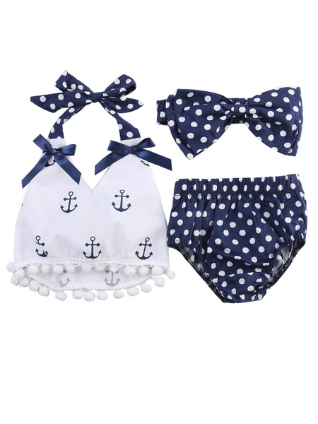 Infant Baby Girl Anchor Top with Polka Dots Bloomers Sunsuit Clothing Set - Bilo store