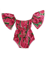 Watermelon Pattern Ruffle Sleeves Baby Girl Sunsuit Romper - Bilo store