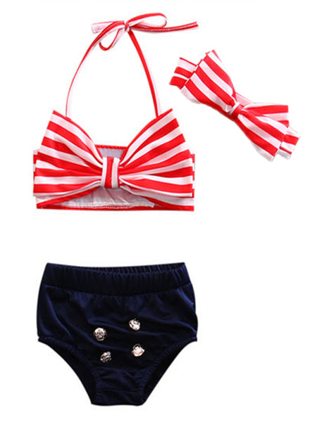 Girls Cute Big Bowknot Stripe Bikini Bathing Swimwear 3 pcs Set - Bilo store