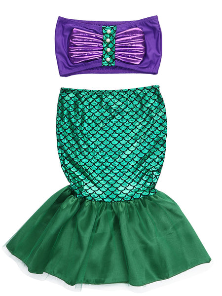 Little Girl Princess Mermaid Swimwear Bikini 2 pcs Set Costume - Bilo store