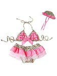 Baby Kids Beach Girls Pinky Leopard Ruffled 3-pc Swimsuit Set - Bilo store