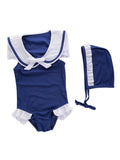 Baby Girls Sleeveless Navy Sailor Swimsuit And Hat 2-pc - Bilo store