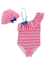 Little Girls Striped Ruffle One Shoulder One-Piece Swimsuit with Hat 2 Pieces Set - Bilo store