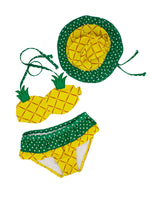 Toddler Girls Cute Pineapple Bikini Sets with Hat 3 pcs Swimsuit - Bilo store