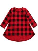 Little Girl Black and Red Checked Plaid Long Sleeve Cotton Casual Party Dress - Bilo store