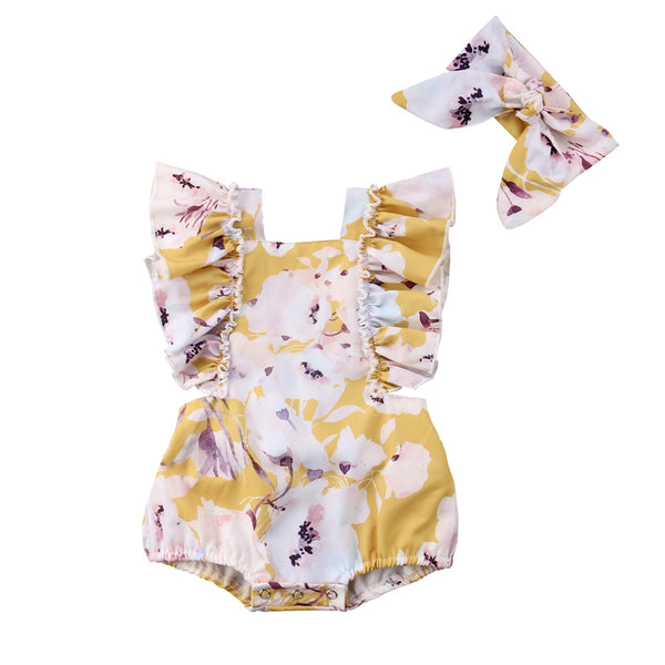 Infant Baby Girls Ruffle Sleeves Flower Printed Cross Open Back Sunsuit Romper and Headband 2pcs Summer Bodysuit Outfit - Bilo store
