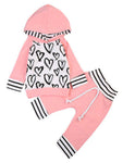 Bilo Infant Baby Girl Hand-Painting Heart Long Sleeve Hoodie and Long Pants 2 pcs Outfit - Bilo store