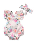 Bilo Infant Baby Girl Cute Floral Print Blackless Sunsuit with Headband 2 pcs Set - Bilo store