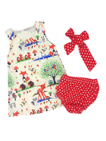 Bilo Baby Girl Animal Print Sleeveless Mini Dress and Polka Dot Bloomers With Headband 3 Pcs Set - Bilo store