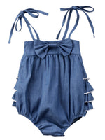 Infant Baby Girl Straps Bowknot Decor Ruffled Romper - Bilo store