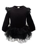 Baby Girl Long Sleeve Ruffle Cotton Romper with Tulle Tutu Skirt - Bilo store