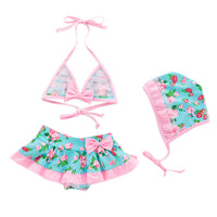 Bilo Baby Toddler Girls Lovely Tie Bikini Swimsuit and Hat 3pcs Set Beach Bathing Suit Swimwear - Bilo store