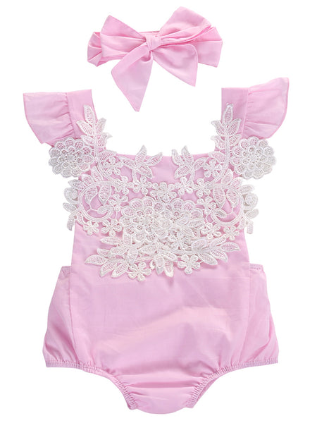Infant Baby Girl Ruffled Cap Sleeve Floral Lace Romper and Headband - Bilo store